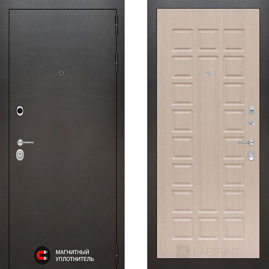 Металлическая дверь Лабиринт SILVER 04 Беленый дуб