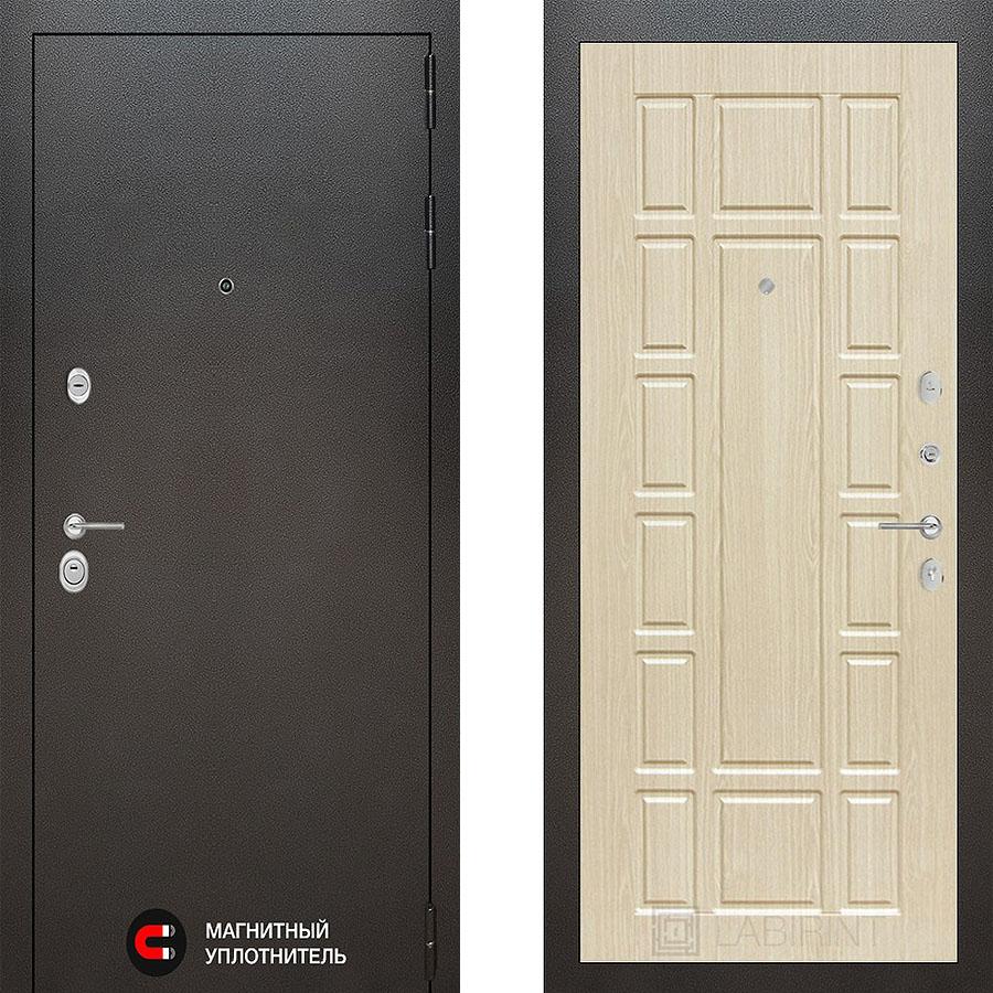 Металлическая дверь Лабиринт SILVER 12 Беленый дуб