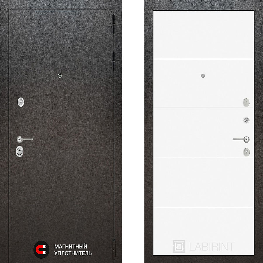 Металлическая дверь Лабиринт SILVER 13 Белый софт