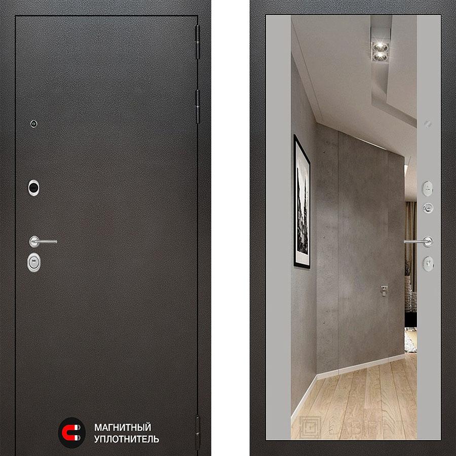 Металлическая дверь Лабиринт SILVER Зеркало максимум Грэй софт