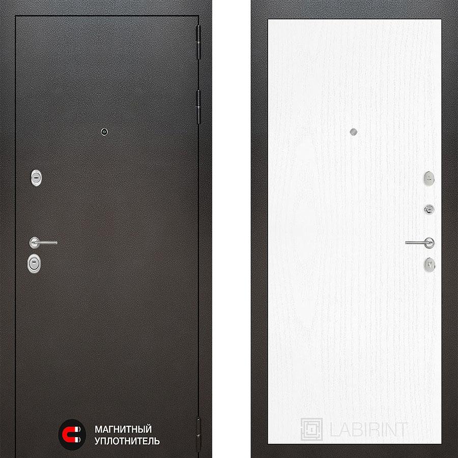 Металлическая дверь Лабиринт SILVER 07 Белое дерево
