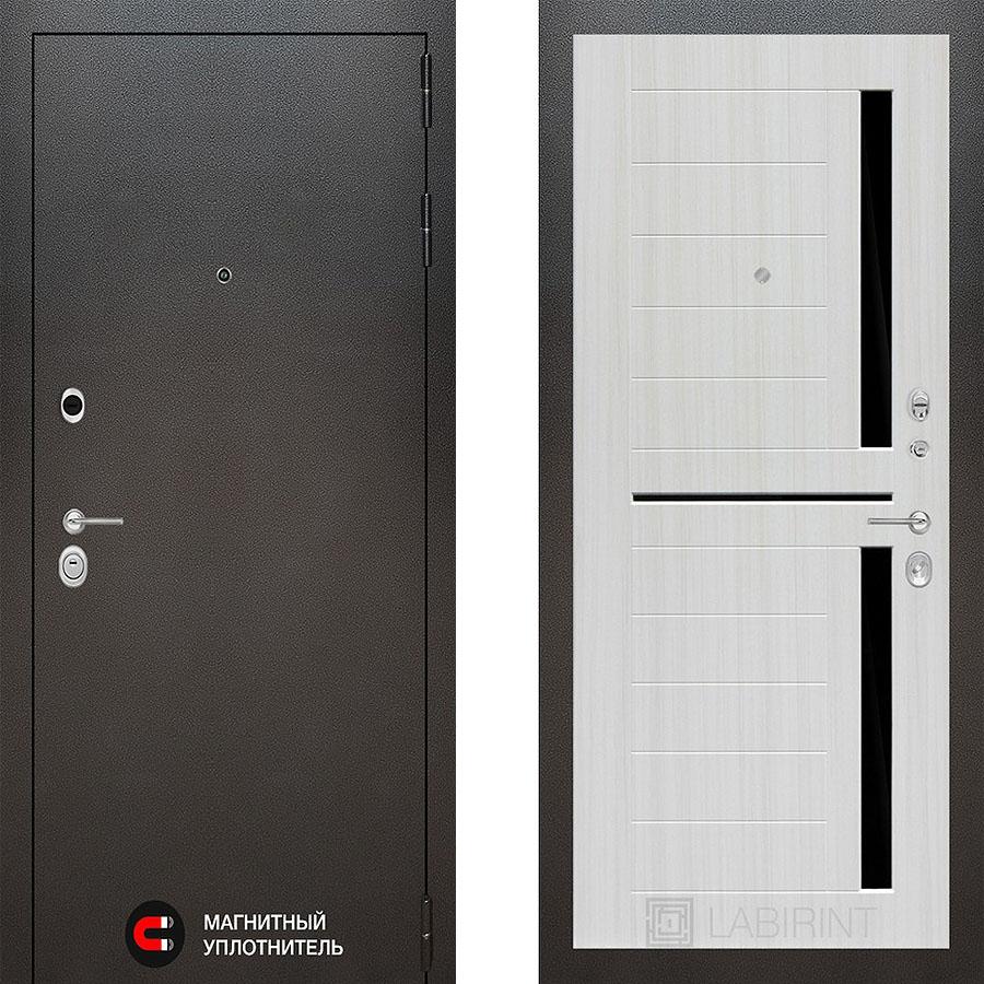 Металлическая дверь Лабиринт SILVER 02 Сандал белый