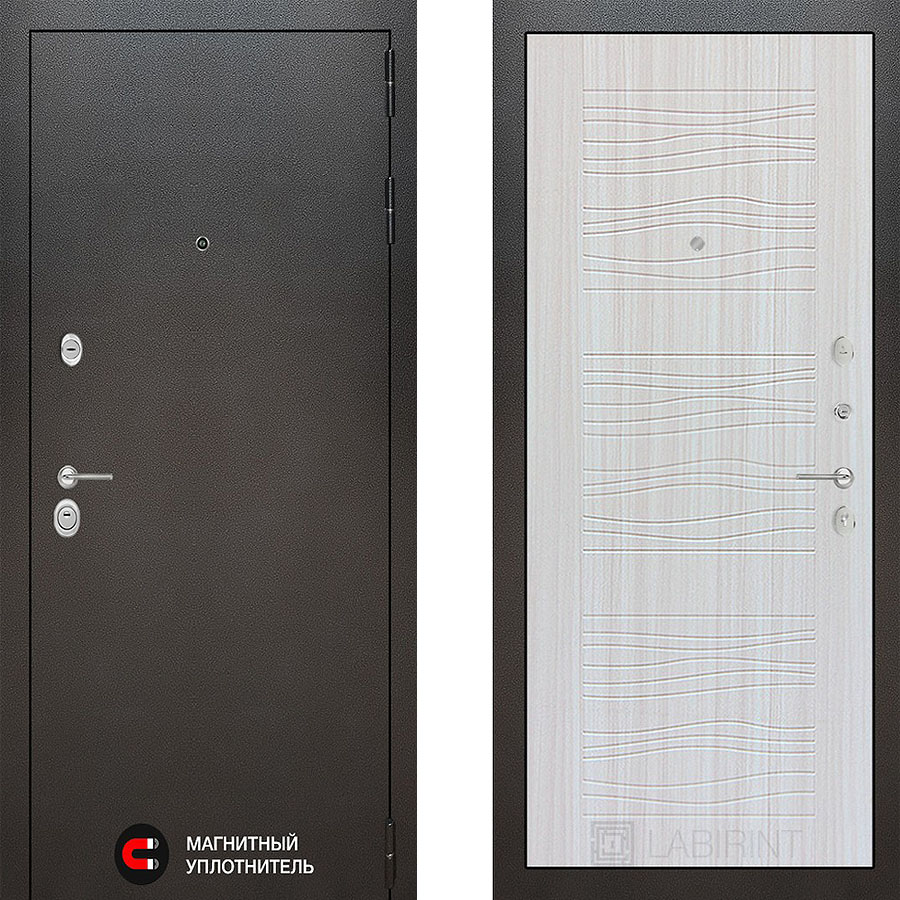 Металлическая дверь Лабиринт COSMO 06 Сандал белый
