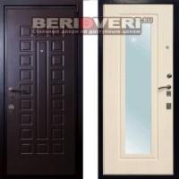 Металлическая дверь Лекс 4А Беленый дуб с зеркалом
