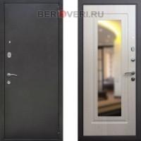 Металлическая дверь REX 2А Зеркало Беленый дуб