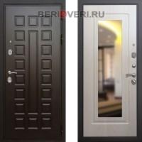 Металлическая дверь REX Премиум 3 Зеркало Беленый дуб