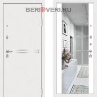 Металлическая дверь Лабиринт Лайн White Широкое Зеркало Белый