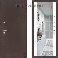 Металлическая дверь Лабиринт CLASSIC антик медный с Зеркалом Максимум - Белый софт
