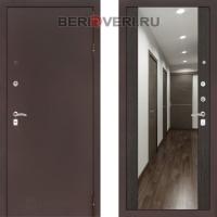 Металлическая дверь Лабиринт CLASSIC антик медный с Зеркалом Максимум - Венге