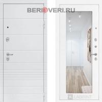 Металлическая дверь Лабиринт Трендо с Зеркалом 18 Белое дерево