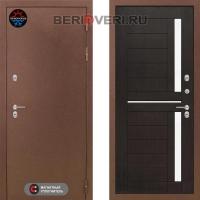 Металлическая дверь Лабиринт Термо Магнит 02 Венге, стекло белое