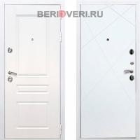 Металлическая дверь REX Премиум H Лучи Белый / Белый софт