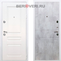 Металлическая дверь REX Премиум H ФЛ-290 Белый / Бетон светлый