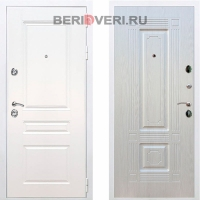 Металлическая дверь REX Премиум H ФЛ-2 Белый / Лиственница беж