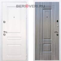 Металлическая дверь REX Премиум H ФЛ-2 Белый / Сандал серый