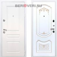 Металлическая дверь REX Премиум H ФЛ-317 Белый / Белый патина золото