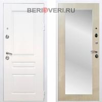 Металлическая дверь REX Премиум H Зеркало Пастораль Белый / Беленый дуб