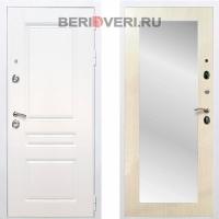 Металлическая дверь REX Премиум H Зеркало Пастораль Белый / Лиственница беж