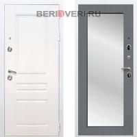 Металлическая дверь REX Премиум H Зеркало Пастораль Белый / Графит софт