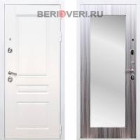 Металлическая дверь REX Премиум H Зеркало Пастораль Белый / Сандал серый