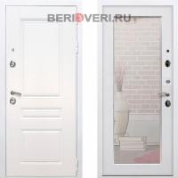 Металлическая дверь REX Премиум H Зеркало Пастораль Белый / Белый ясень