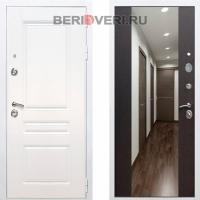Металлическая дверь REX Премиум H Зеркало СБ-16 Белый / Венге
