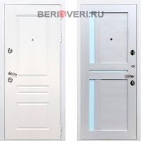 Металлическая дверь REX Премиум H СБ-18 Белый / Лиственница беж
