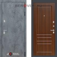 Металлическая дверь Лабиринт Бетон 03 Орех бренди