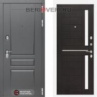 Металлическая дверь Лабиринт Платинум 02 Венге, стекло белое