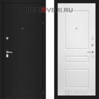 Металлическая дверь Лабиринт CLASSIC Шагрень черная 03 Белый софт