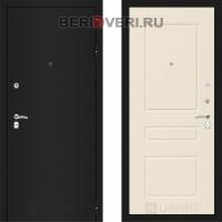 Металлическая дверь Лабиринт CLASSIC Шагрень черная 03 Крем софт