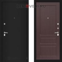 Металлическая дверь Лабиринт CLASSIC Шагрень черная 03 Орех премиум