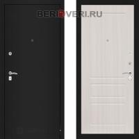 Металлическая дверь Лабиринт CLASSIC Шагрень черная 03 Сандал белый