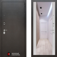 Металлическая дверь Лабиринт SILVER Зеркало максимум Сандал белый