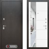 Металлическая дверь Лабиринт SILVER 19 Зеркало Белый софт